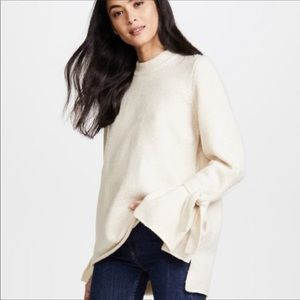 MadewellCream Bow Tie Cuff Bell Sleeve Sweater